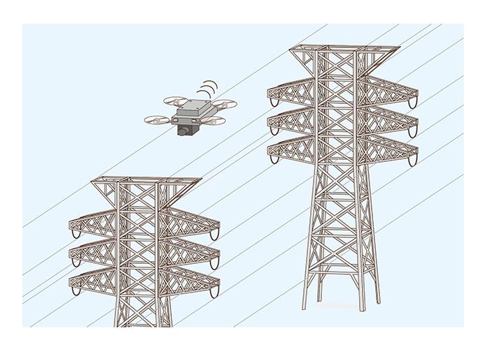 ドローンによる送電線検査の撮影位置制御