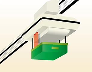 天井搬送台車 荷の上げ下げ作業のデータ通信
