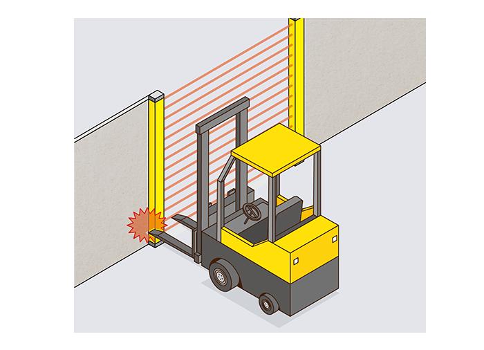 加工装置の部品入搬出口の安全対策 ライトカーテンの置換え