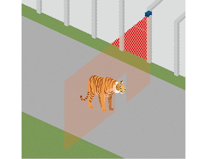 動物園の展示範囲外への動物侵入検知